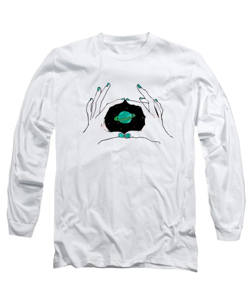 Hands Around Saturn Long Sleeve T-Shirt by Lucy Frost