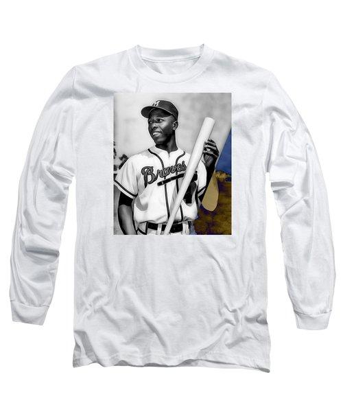 Hank Aaron Long Sleeve T-Shirt by Marvin Blaine