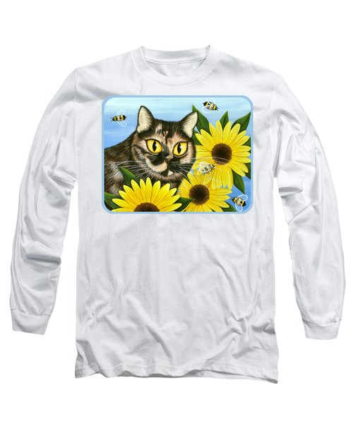 Long Sleeve T-Shirt featuring the painting Hannah Tortoiseshell Cat Sunflowers by Carrie Hawks