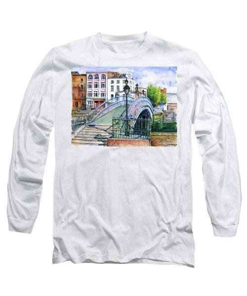 Ha'penny Bridge Dublin Long Sleeve T-Shirt by John D Benson