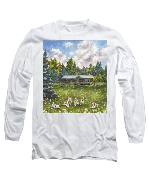 Long Sleeve T-Shirt featuring the painting Happy Dogs by Anne Gifford