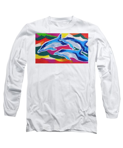 Long Sleeve T-Shirt featuring the painting Happy Dolphin Dance by Stephen Anderson