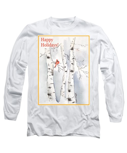 Long Sleeve T-Shirt featuring the painting Happy Holidays by Maria Langgle