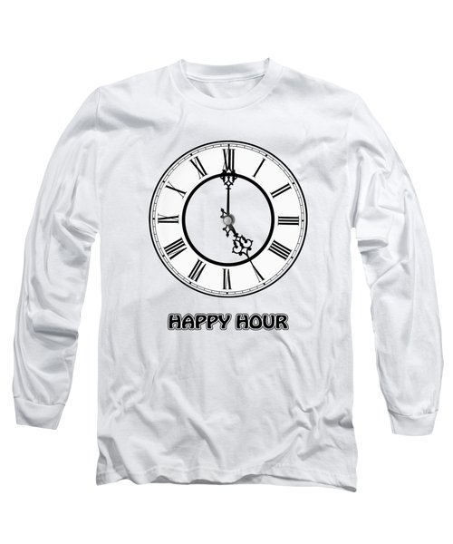 Happy Hour - White And Blue Long Sleeve T-Shirt