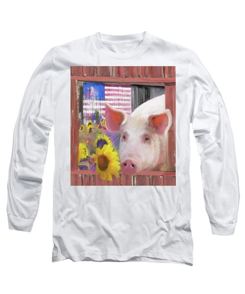 Happy Pig  Long Sleeve T-Shirt by Julianne Ososke