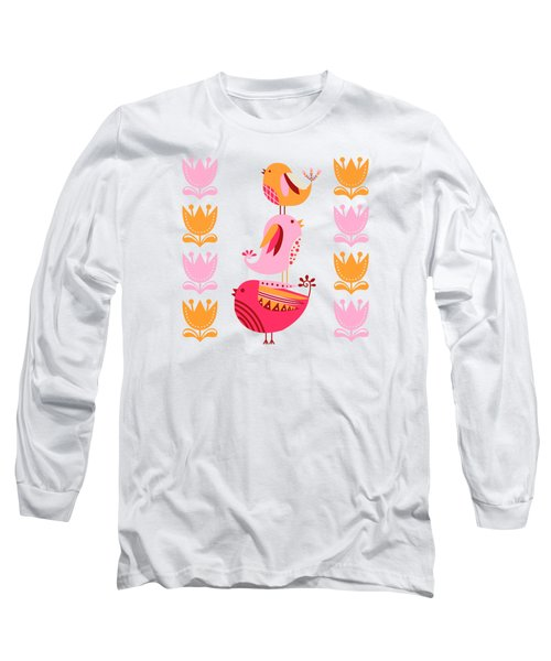 Happy Pink And Orange Birds And Blooms Long Sleeve T-Shirt