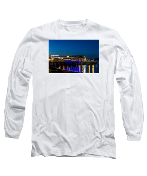 Long Sleeve T-Shirt featuring the photograph Harbor Lights During Blue Hour by Rob Green