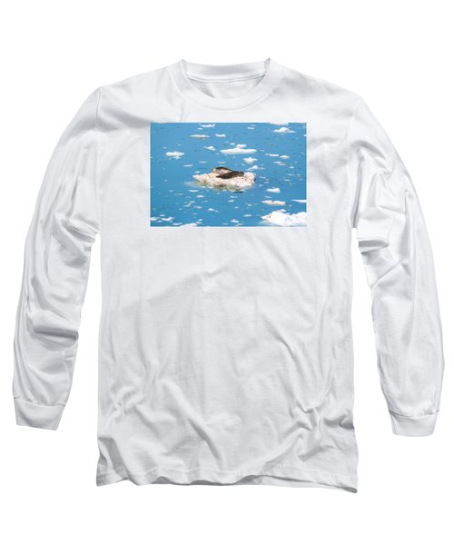 Harbor Seals On Clouds Of Ice Long Sleeve T-Shirt by Allan Levin