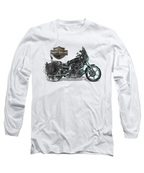 Long Sleeve T-Shirt featuring the digital art Harley-davidson Motorcycle With 3d Badge Over Vintage Patent by Serge Averbukh