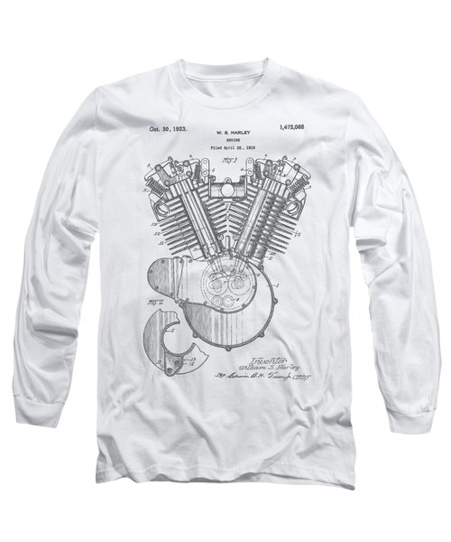 Harley Engine Patent Drawing Long Sleeve T-Shirt