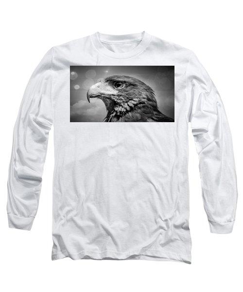 Harris Hawk  Black And White Long Sleeve T-Shirt