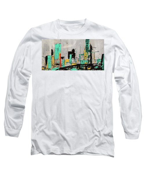 Long Sleeve T-Shirt featuring the painting Hashtag City by Carmen Guedez