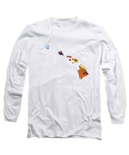 Hawaii Map Art - Painted Map Of Hawaii Long Sleeve T-Shirt