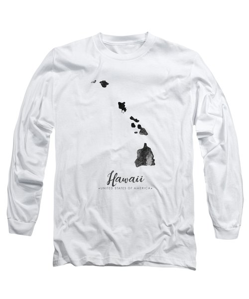 Hawaii State Map Art - Grunge Silhouette Long Sleeve T-Shirt