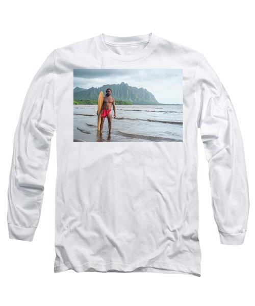 Hawaiian Alaia Surfer Long Sleeve T-Shirt