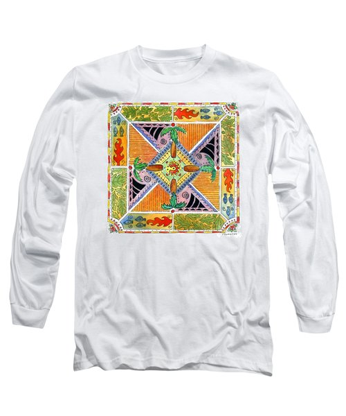 Hawaiian Mandala I - Palm Trees Long Sleeve T-Shirt