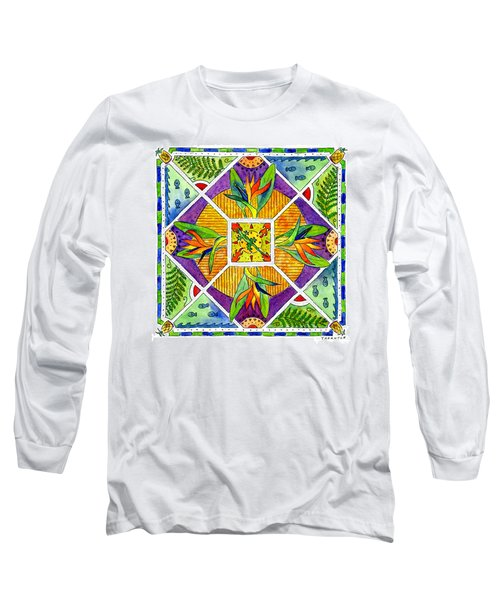 Hawaiian Mandala II - Bird Of Paradise Long Sleeve T-Shirt
