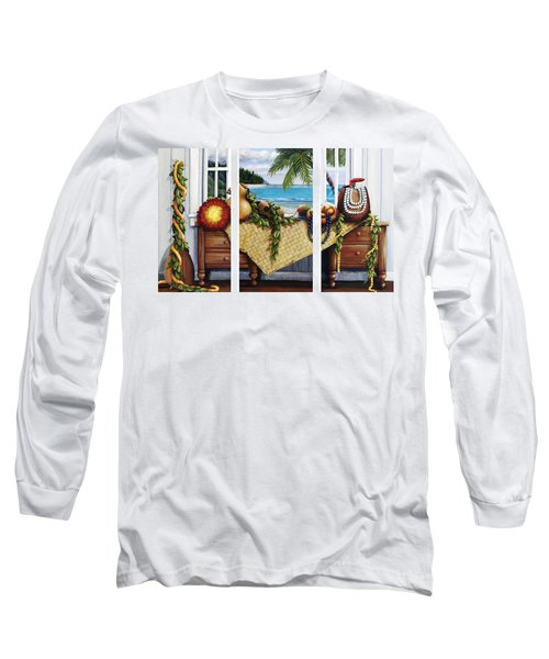 Hawaiian Still Life With Haleiwa On My Mind Long Sleeve T-Shirt by Sandra Blazel - Printscapes