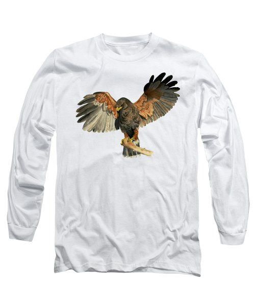 Hawk Flapping Wings Watercolor Painting Long Sleeve T-Shirt
