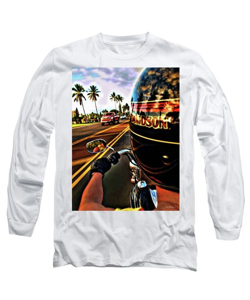 Heading Out On Harley Long Sleeve T-Shirt by Joan  Minchak