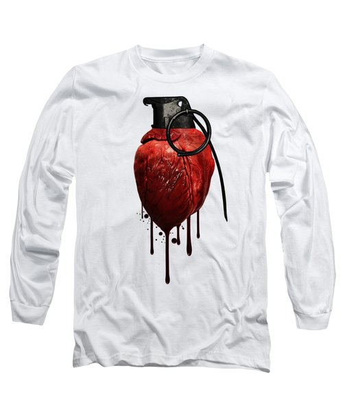 Heart Grenade Long Sleeve T-Shirt by Nicklas Gustafsson