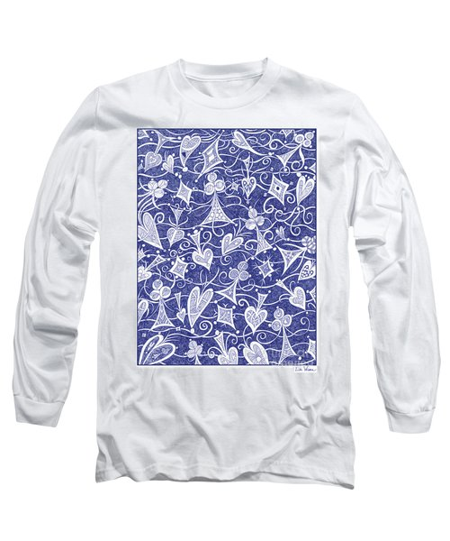 Hearts, Spades, Diamonds And Clubs In Blue Long Sleeve T-Shirt by Lise Winne