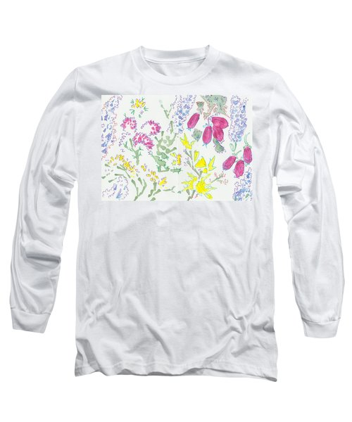 Heather And Gorse Watercolor Illustration Pattern Long Sleeve T-Shirt