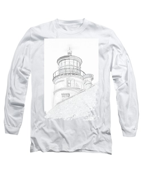 Hecitia Head Lighthouse Sketch Long Sleeve T-Shirt by Jeffrey Jensen