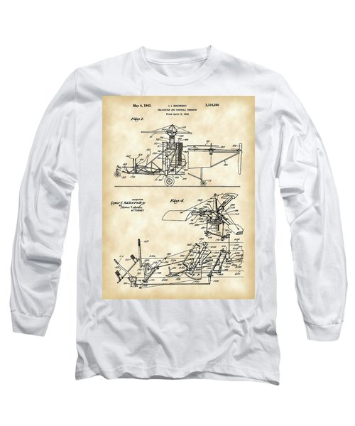 Helicopter Patent 1940 - Vintage Long Sleeve T-Shirt by Stephen Younts