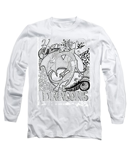Long Sleeve T-Shirt featuring the drawing Here Be Dragons by Wendy Coulson