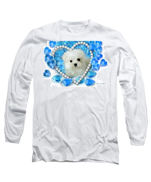 Hermes The Maltese And Blue Hearts Long Sleeve T-Shirt