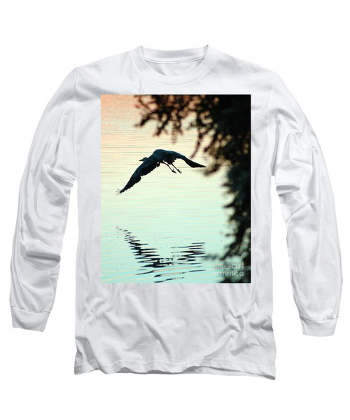 Heron At Dusk Long Sleeve T-Shirt
