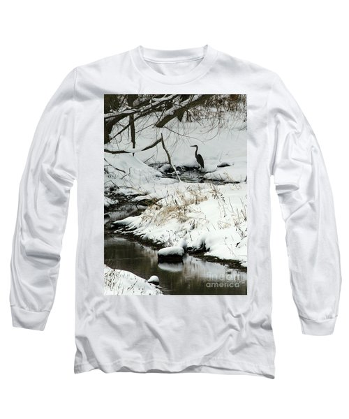 Heron In Winter Long Sleeve T-Shirt