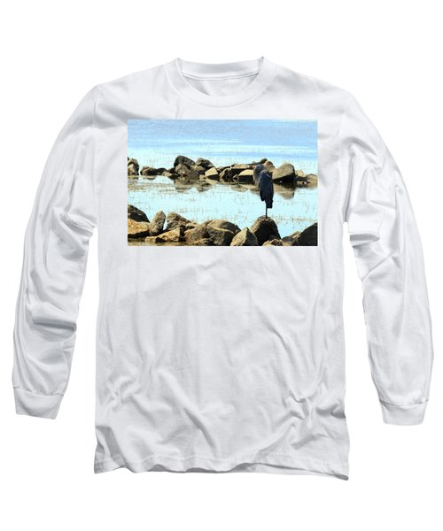 Heron On The Rocks Long Sleeve T-Shirt