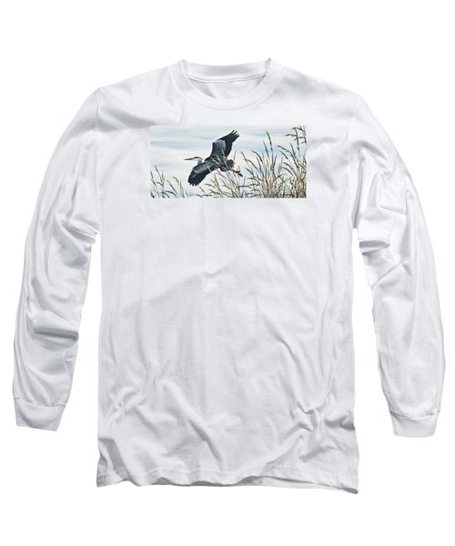 Herons Flight Long Sleeve T-Shirt by James Williamson