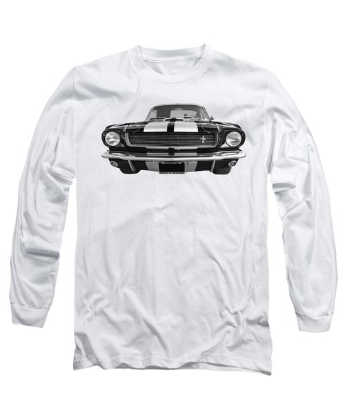 Long Sleeve T-Shirt featuring the photograph Hertz Rent A Racer Mustang 1966 Black And White by Gill Billington