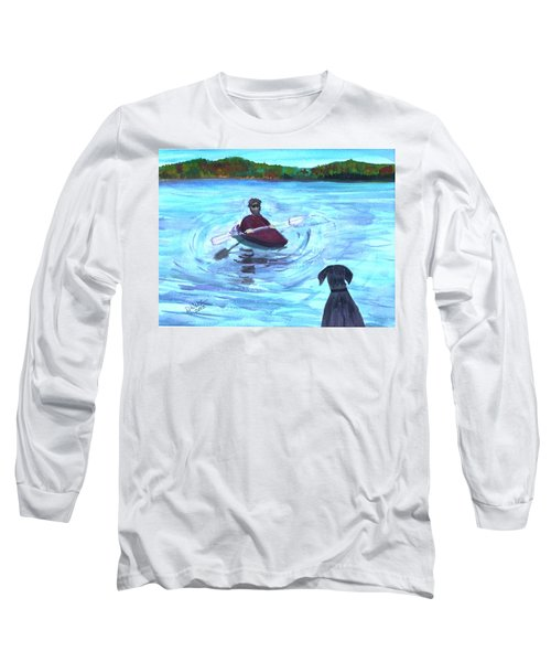 Long Sleeve T-Shirt featuring the painting Hey Where You Going  by Donna Walsh