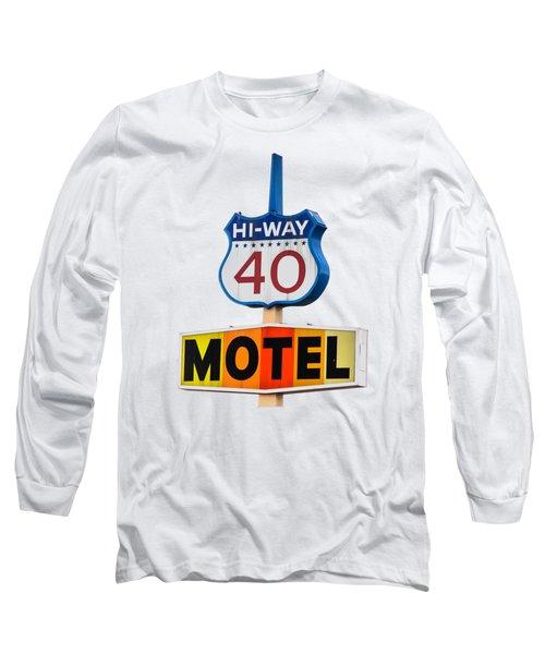 Hi-way 40 Motel Long Sleeve T-Shirt by Rick Mosher