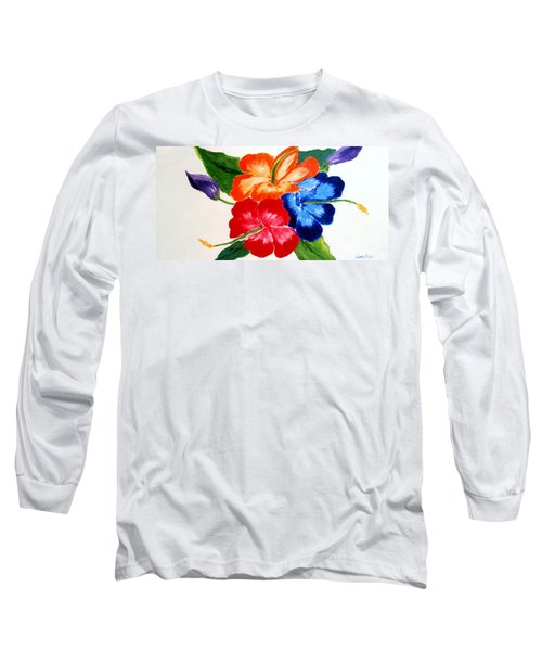 Long Sleeve T-Shirt featuring the painting Hibiscus by Jamie Frier