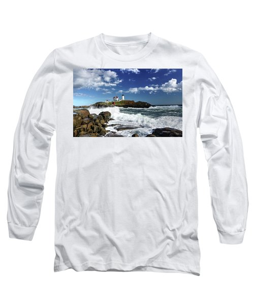 High Surf At Nubble Light Long Sleeve T-Shirt