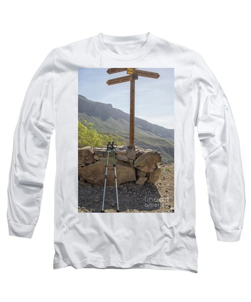 Hiking Poles Resting Near Sign Long Sleeve T-Shirt by Patricia Hofmeester
