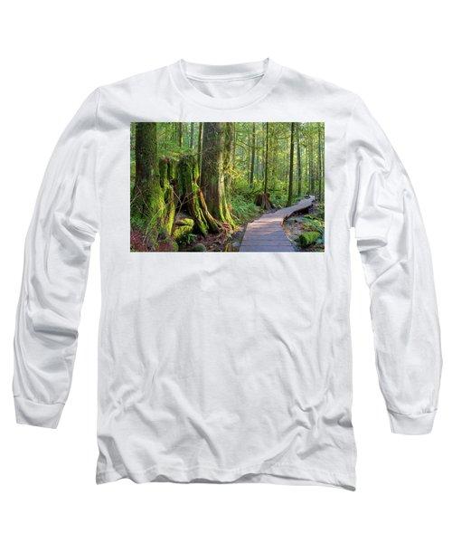 Hiking Trail Through Forest In Lynn Canyon Park Long Sleeve T-Shirt