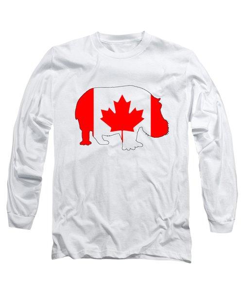 Hippopotamus Canada Long Sleeve T-Shirt by Mordax Furittus