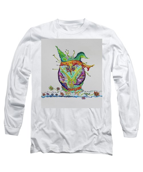 Hippy Owl- Vertical Format Long Sleeve T-Shirt