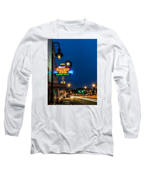 Long Sleeve T-Shirt featuring the photograph Historic Almond Roca Co. During Blue Hour by Rob Green