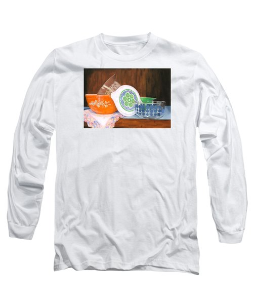 Long Sleeve T-Shirt featuring the painting History Of Pyrex by Lynne Reichhart