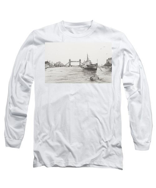 Hms Belfast On The River Thames Long Sleeve T-Shirt