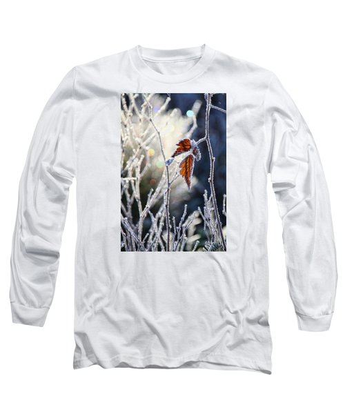 Long Sleeve T-Shirt featuring the photograph Hoar Frost And Leaves In Winter by Peggy Collins
