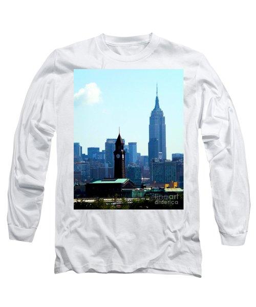 Hoboken And New York Long Sleeve T-Shirt by James Aiken