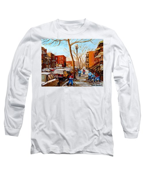 Long Sleeve T-Shirt featuring the painting Hockey On St Urbain Street by Carole Spandau